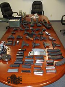 Another angle of confiscated weapons