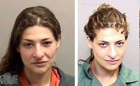 Two earlier booking photos of Molly Katzeff.