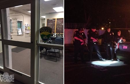 Left - the Suisun City Police Lobby. Right - officers investigate the Village Apts. shooting. (Suisun PD)