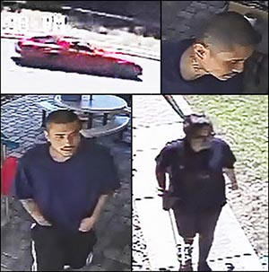 Nghounoi in several surveillance shots, and the vehicle the pair were suspected of arriving in.