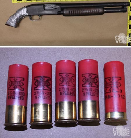 The shotgun and shells police recovered from the vehicle.