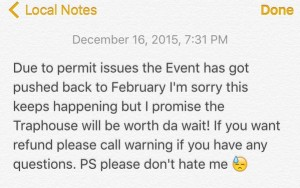 "A screenshot of the note Fernandez put on his twitter for his highly anticipated ""Traphouse"" event."