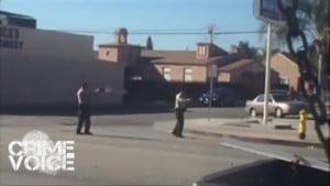 A video screenshot of the deputies shooting Robertson.
