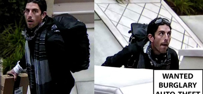 Suspect sought in connection to package theft, burglary, auto theft in San Jose