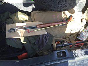 Police display Tejada's weapons
