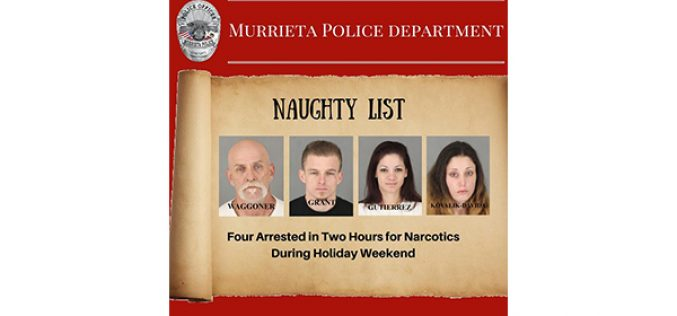 4 Drug Arrests on Christmas Eve, Christmas Day