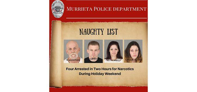 4 Drug Arrests on Christmas Eve, Christmas Day