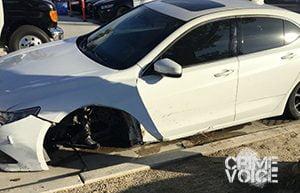 Morales' damaged car