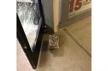 Concrete Block Unsuccessfully Thrown in Burglary Attempt