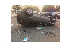Exciting Pursuit Results in Flipped-Over SUV