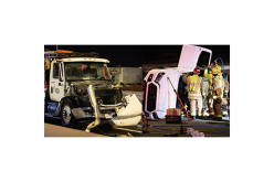 DUI Utility Truck Crash Flips Car with Two Adults, Two Children