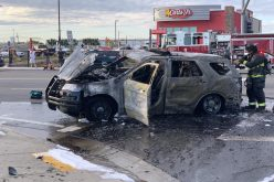 Stockton police chase ends with fire hydrant collision & patrol vehicle on fire