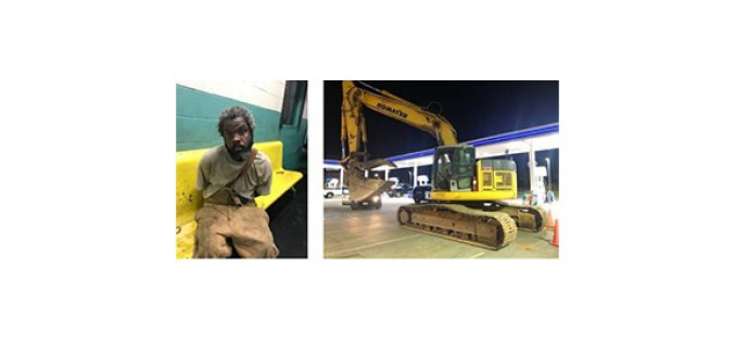 Man takes stolen excavator for a brief ride through Redding