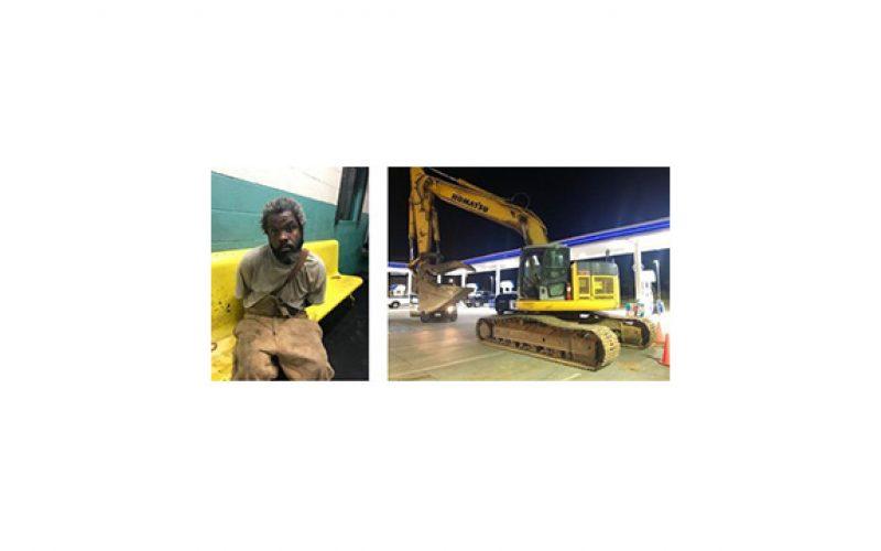 Man takes stolen excavator for a brief ride through Redding