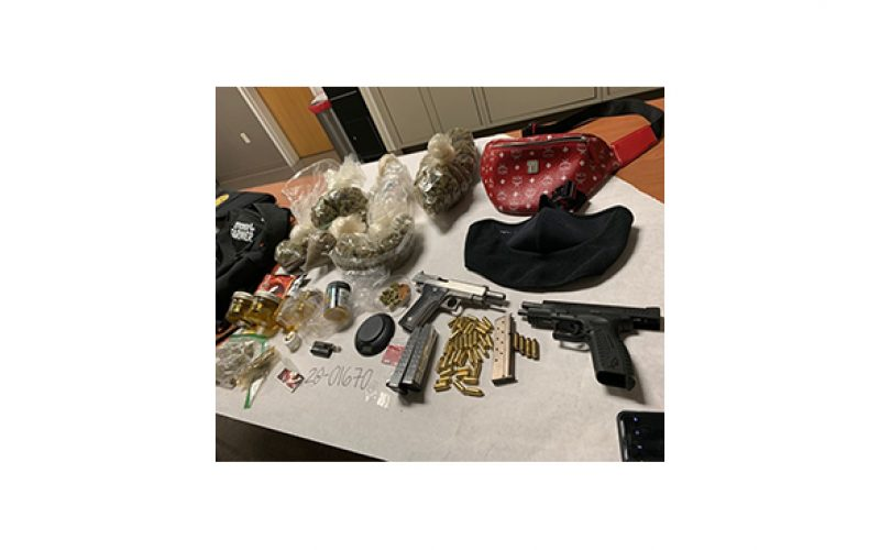 Two handguns and drugs seized in traffic stop