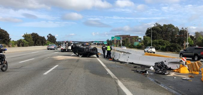 Report: Carjacking suspect flips car on freeway while trying to escape arrest