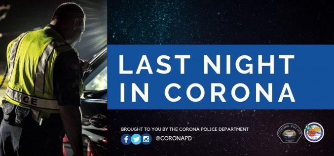 One night in Corona, three arrests