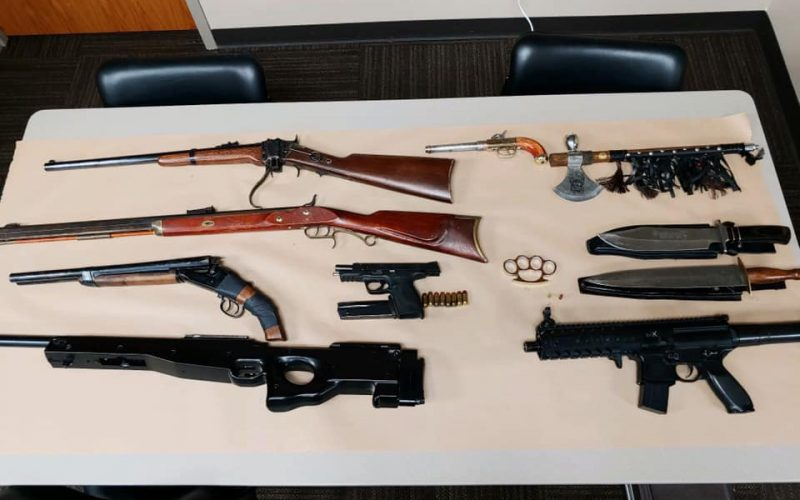 One search warrant, two arrests, six guns