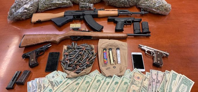 Firearms, marijuana, and ammunition discovered after Trespassing call