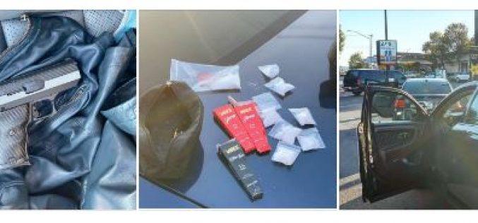 Brandishing firearm with meth in the car