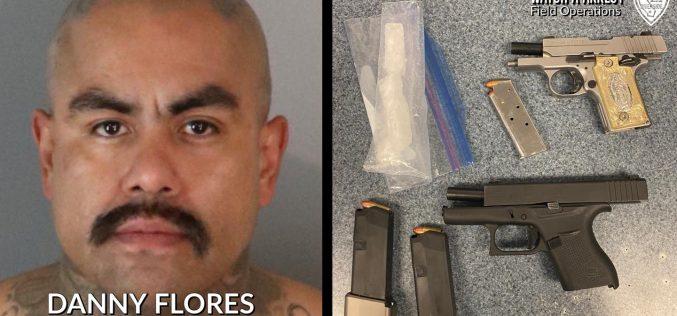 PAROLEE GANG MEMBER ARRESTED FOR GUNS & DRUGS