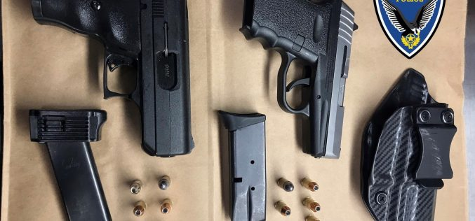 Pursuit of man with loaded guns
