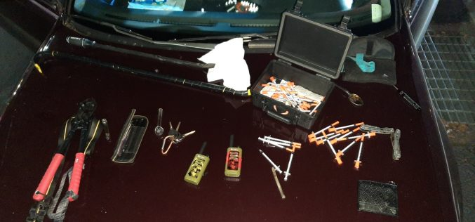 Driving around with various burglary tools