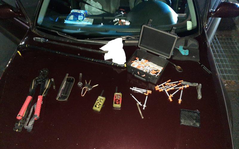 Driving around with various burglary tools