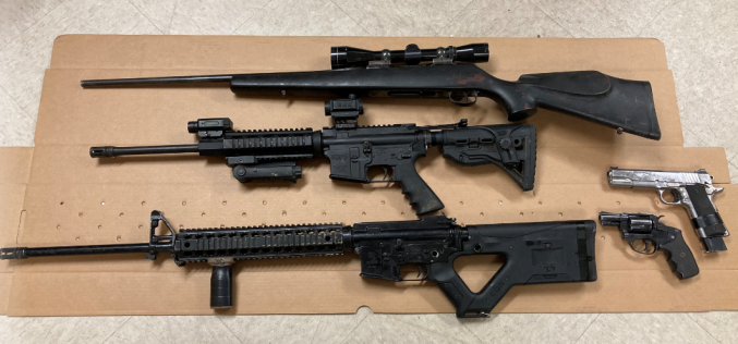 Five firearms seized with search warrant