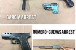 Three incidents, three arrests, guns seized