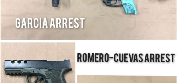 Three incidents, three arrests, guns seized