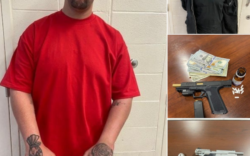 Two traffic stops, two arrests for drugs, gun