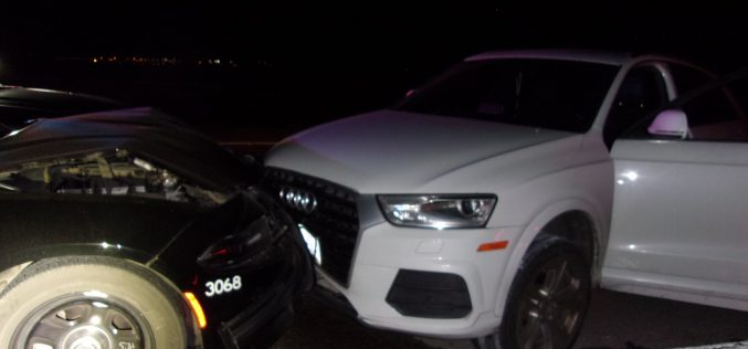 Wrong-way driver hits spike strip and crashes
