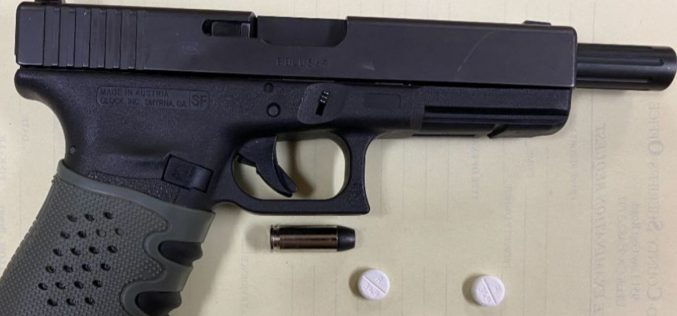 Pair arrested with stolen gun, pills, meth, pipe