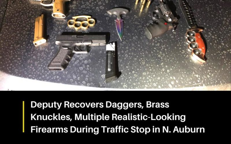 Dagger, brass knuckles and replica firearms