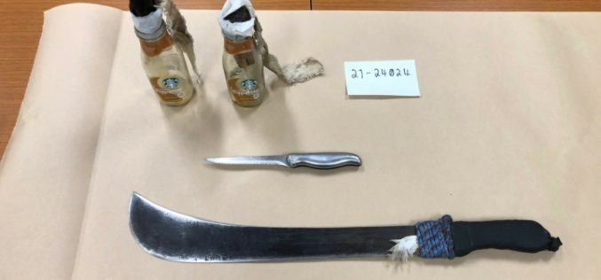 Man in Possession of a Machete and Molotov Cocktails is Arrested