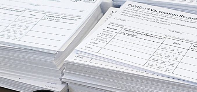Vaccine-Site Employee Charged – Thief Pilfers Stacks of Covid-19 Vaccination-Record Cards