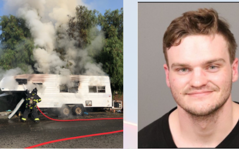 Man sets RV on fire