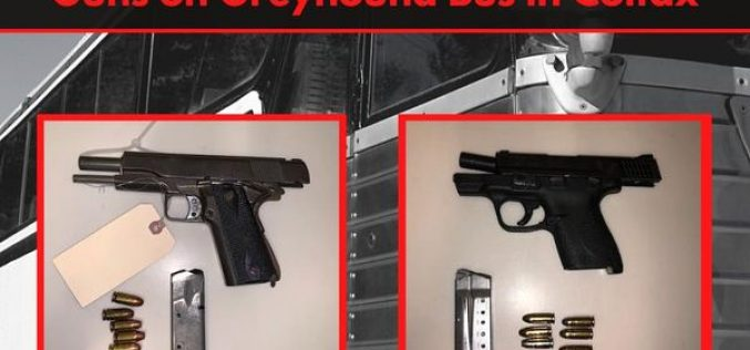 Man with warrants carries two stolen guns on Greyhound bus